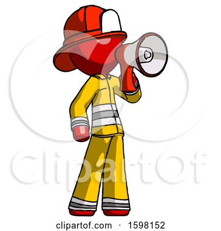 Red Firefighter Fireman Man Shouting into Megaphone Bullhorn Facing Right by Leo Blanchette