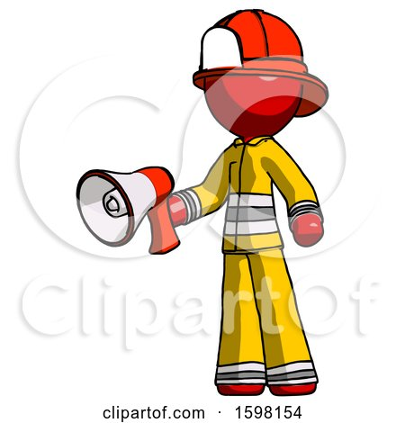 Red Firefighter Fireman Man Holding Megaphone Bullhorn Facing Right by Leo Blanchette