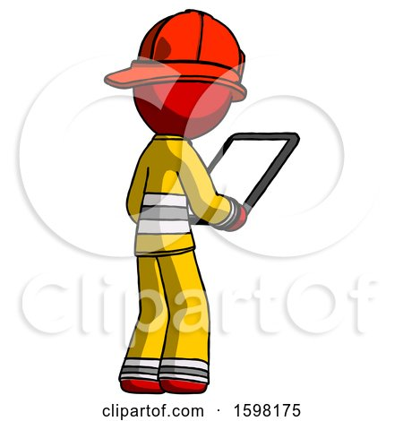 Red Firefighter Fireman Man Looking at Tablet Device Computer Facing Away by Leo Blanchette