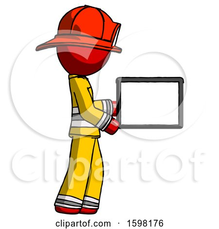 Red Firefighter Fireman Man Show Tablet Device Computer to Viewer, Blank Area by Leo Blanchette