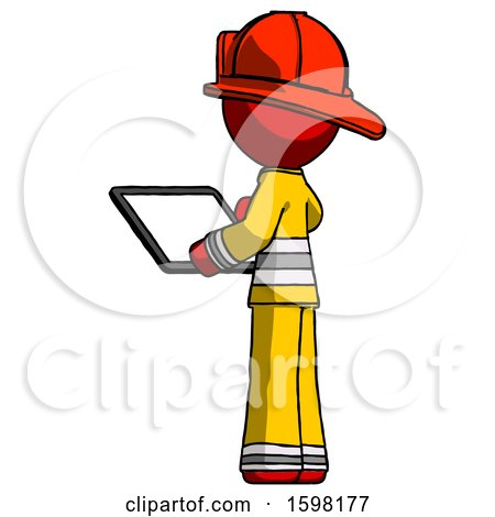 Red Firefighter Fireman Man Looking at Tablet Device Computer with Back to Viewer by Leo Blanchette