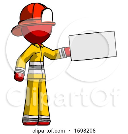 Red Firefighter Fireman Man Holding Large Envelope by Leo Blanchette