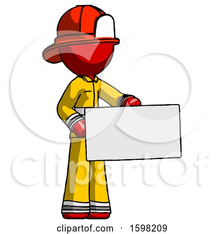 Red Firefighter Fireman Man Presenting Large Envelope by Leo Blanchette