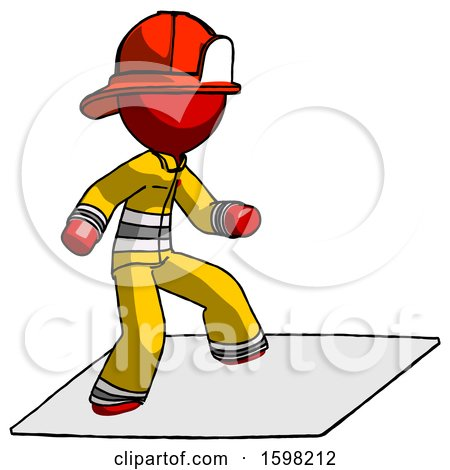 Red Firefighter Fireman Man on Postage Envelope Surfing by Leo Blanchette