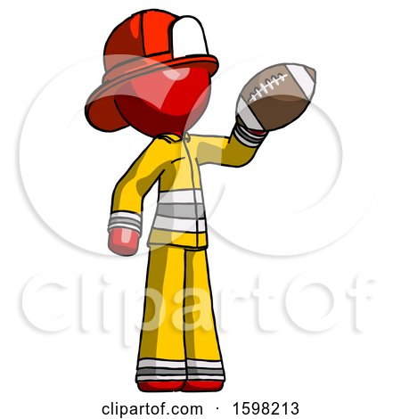 Red Firefighter Fireman Man Holding Football up by Leo Blanchette