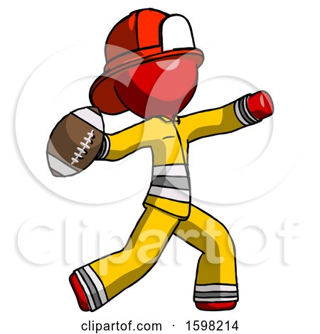 Red Firefighter Fireman Man Throwing Football by Leo Blanchette