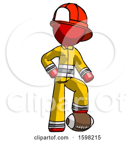 Red Firefighter Fireman Man Standing with Foot on Football by Leo Blanchette