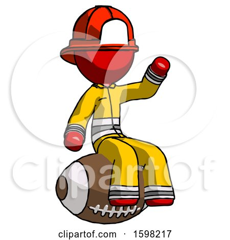 Red Firefighter Fireman Man Sitting on Giant Football by Leo Blanchette