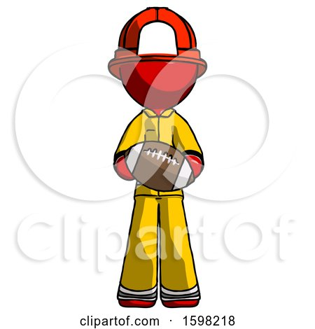 Red Firefighter Fireman Man Giving Football to You by Leo Blanchette