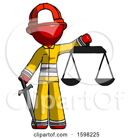 Red Firefighter Fireman Man Justice Concept with Scales and Sword, Justicia Derived by Leo Blanchette