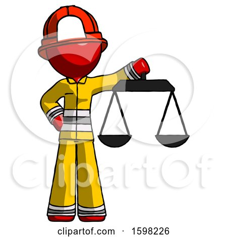 Red Firefighter Fireman Man Holding Scales of Justice by Leo Blanchette