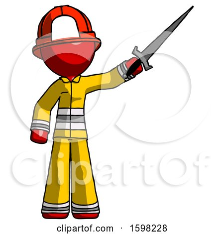 Red Firefighter Fireman Man Holding Sword in the Air Victoriously by Leo Blanchette