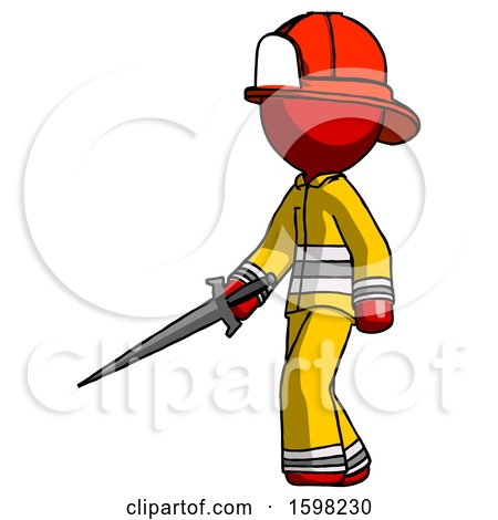 Red Firefighter Fireman Man with Sword Walking Confidently by Leo Blanchette