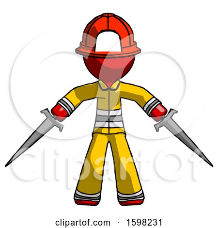 Red Firefighter Fireman Man Two Sword Defense Pose by Leo Blanchette