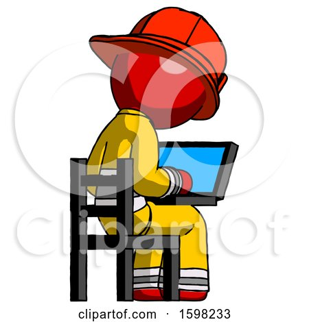 Red Firefighter Fireman Man Using Laptop Computer While Sitting in Chair View from Back by Leo Blanchette