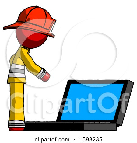 Red Firefighter Fireman Man Using Large Laptop Computer Side Orthographic View by Leo Blanchette