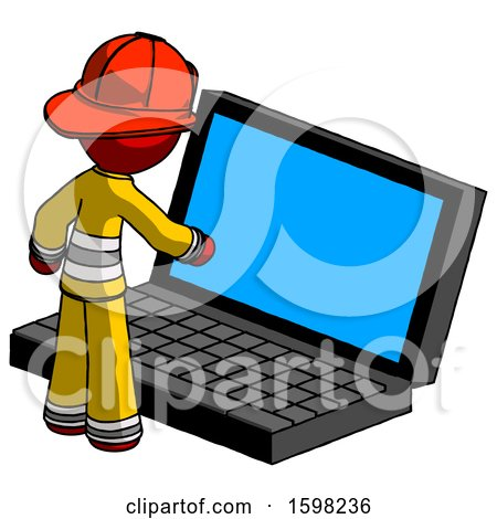 Red Firefighter Fireman Man Using Large Laptop Computer by Leo Blanchette