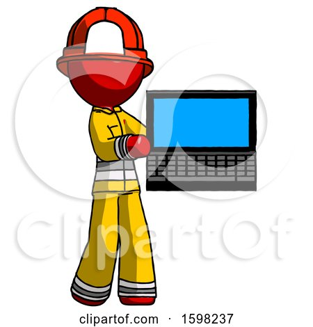 Red Firefighter Fireman Man Holding Laptop Computer Presenting Something on Screen by Leo Blanchette