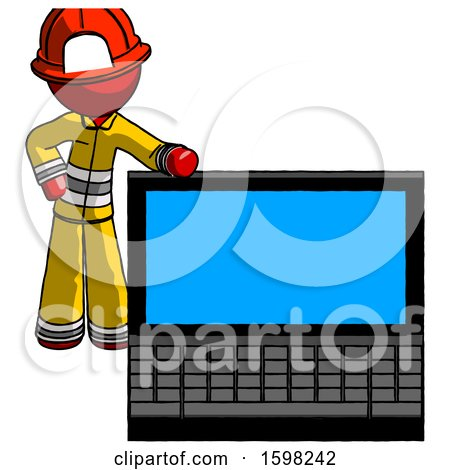 Red Firefighter Fireman Man Beside Large Laptop Computer, Leaning Against It by Leo Blanchette