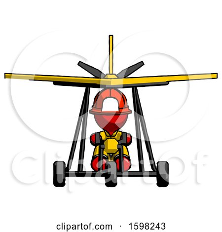 Red Firefighter Fireman Man in Ultralight Aircraft Front View by Leo Blanchette