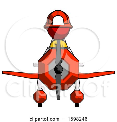 Red Firefighter Fireman Man in Geebee Stunt Plane Front View by Leo Blanchette