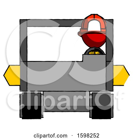 Red Firefighter Fireman Man Driving Amphibious Tracked Vehicle Front View by Leo Blanchette