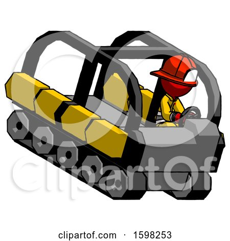Red Firefighter Fireman Man Driving Amphibious Tracked Vehicle Top Angle View by Leo Blanchette