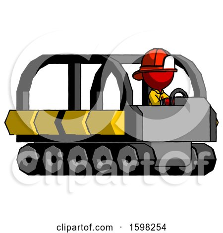 Red Firefighter Fireman Man Driving Amphibious Tracked Vehicle Side Angle View by Leo Blanchette