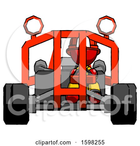 Red Firefighter Fireman Man Riding Sports Buggy Front View by Leo Blanchette