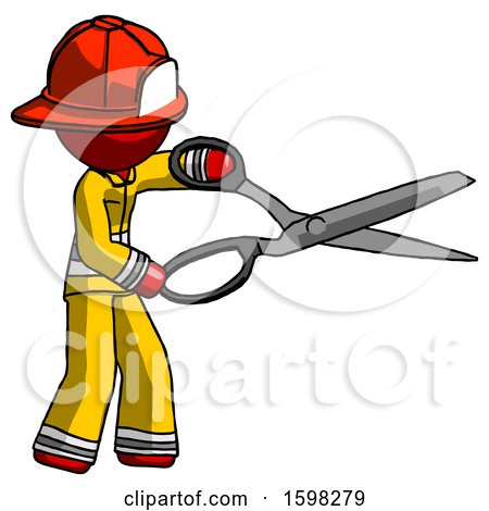Red Firefighter Fireman Man Holding Giant Scissors Cutting out Something by Leo Blanchette