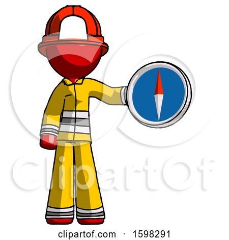Red Firefighter Fireman Man Holding a Large Compass by Leo Blanchette