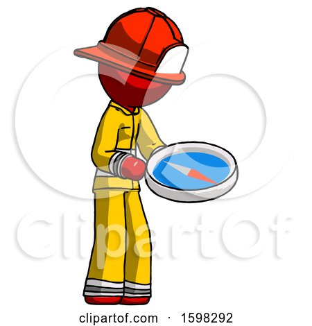 Red Firefighter Fireman Man Looking at Large Compass Facing Right by Leo Blanchette