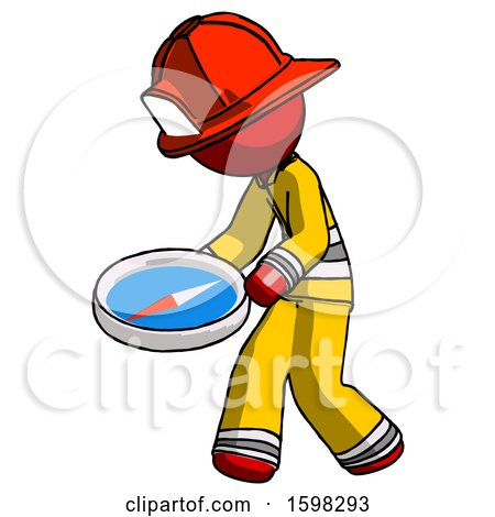 Red Firefighter Fireman Man Walking with Large Compass by Leo Blanchette