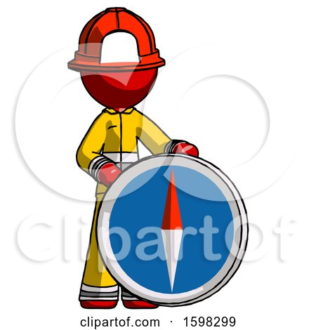 Red Firefighter Fireman Man Standing Beside Large Compass by Leo Blanchette