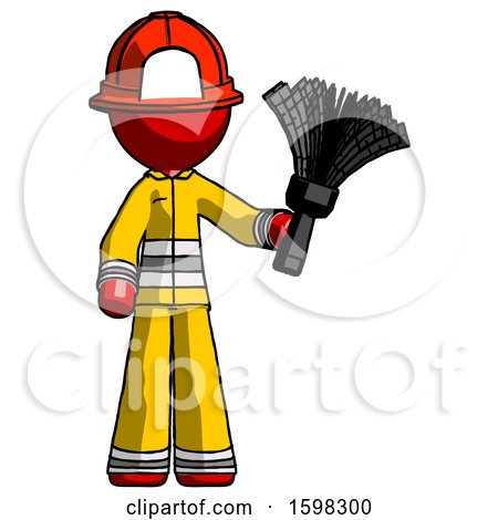 Red Firefighter Fireman Man Holding Feather Duster Facing Forward by Leo Blanchette