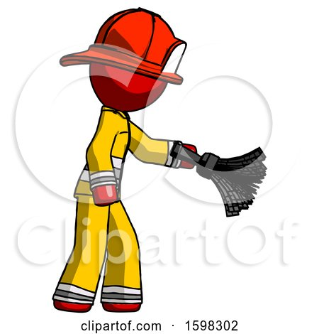 Red Firefighter Fireman Man Dusting with Feather Duster Downwards by Leo Blanchette