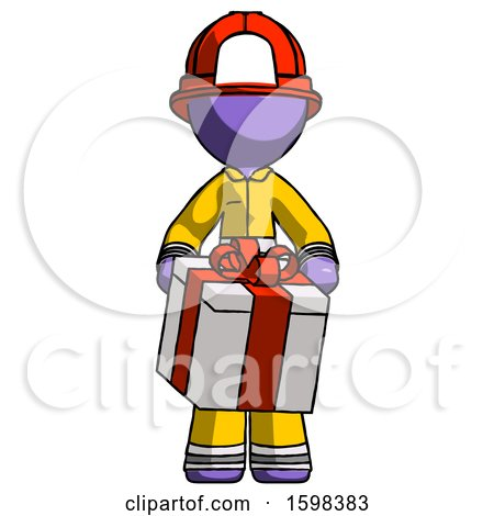 Purple Firefighter Fireman Man Gifting Present with Large Bow Front View by Leo Blanchette