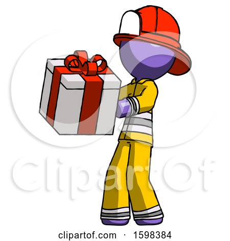 Purple Firefighter Fireman Man Presenting a Present with Large Red Bow on It by Leo Blanchette