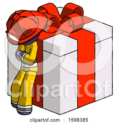 Purple Firefighter Fireman Man Leaning on Gift with Red Bow Angle View by Leo Blanchette