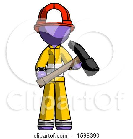 Purple Firefighter Fireman Man Holding Hammer Ready to Work by Leo Blanchette