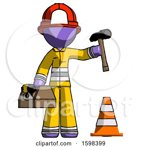 Purple Firefighter Fireman Man Under Construction Concept, Traffic Cone and Tools by Leo Blanchette