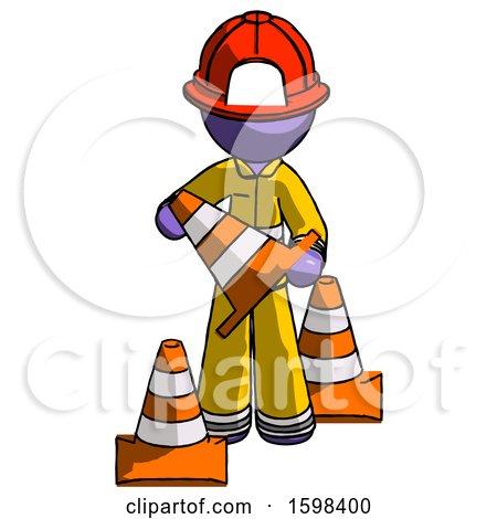 Purple Firefighter Fireman Man Holding a Traffic Cone by Leo Blanchette