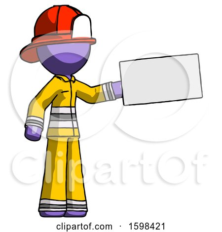 Purple Firefighter Fireman Man Holding Large Envelope by Leo Blanchette