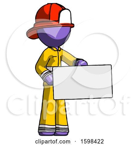 Purple Firefighter Fireman Man Presenting Large Envelope by Leo Blanchette