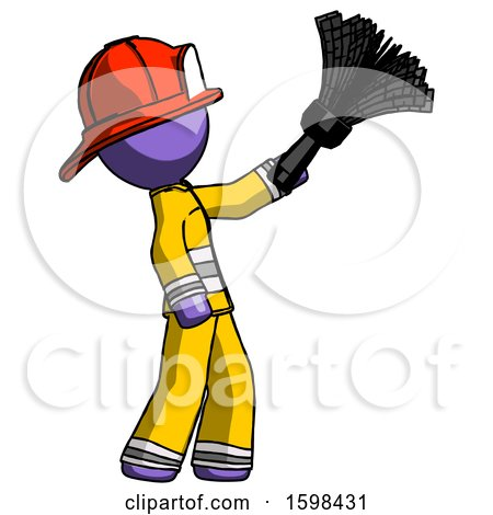 Purple Firefighter Fireman Man Dusting with Feather Duster Upwards by Leo Blanchette