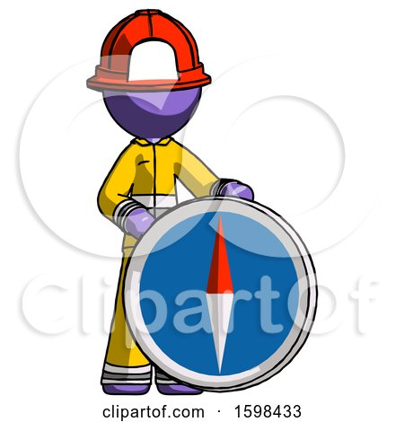 Purple Firefighter Fireman Man Standing Beside Large Compass by Leo Blanchette