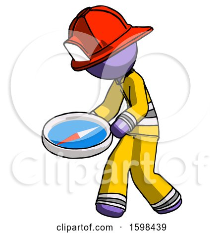 Purple Firefighter Fireman Man Walking with Large Compass by Leo Blanchette