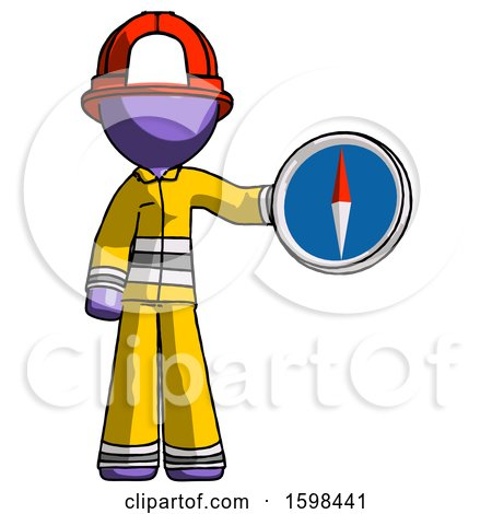 Purple Firefighter Fireman Man Holding a Large Compass by Leo Blanchette