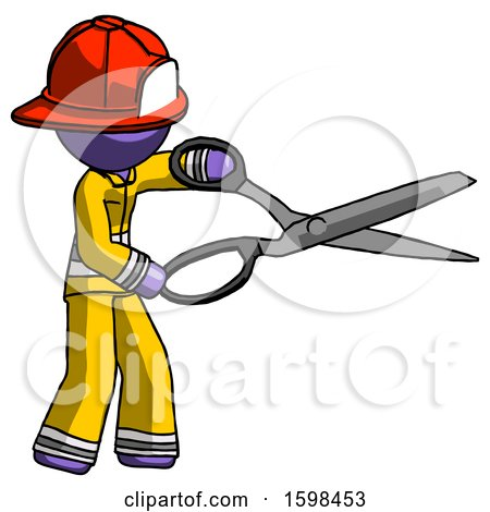 Purple Firefighter Fireman Man Holding Giant Scissors Cutting out Something by Leo Blanchette