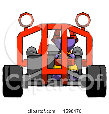 Purple Firefighter Fireman Man Riding Sports Buggy Front View by Leo Blanchette